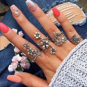 Sterling silver knuckle rose 🌹 vine Ring Set